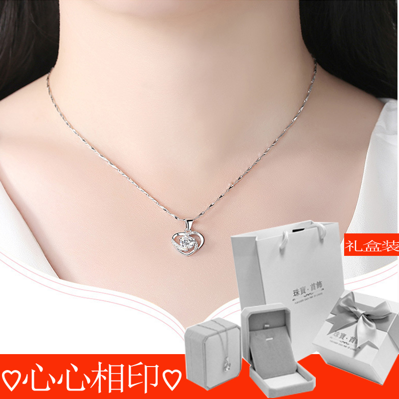 Pure silver clavicle Necklace female heart-shaped pendant inlaid with gems, versatile Korean jewelry for Valentines Day gift