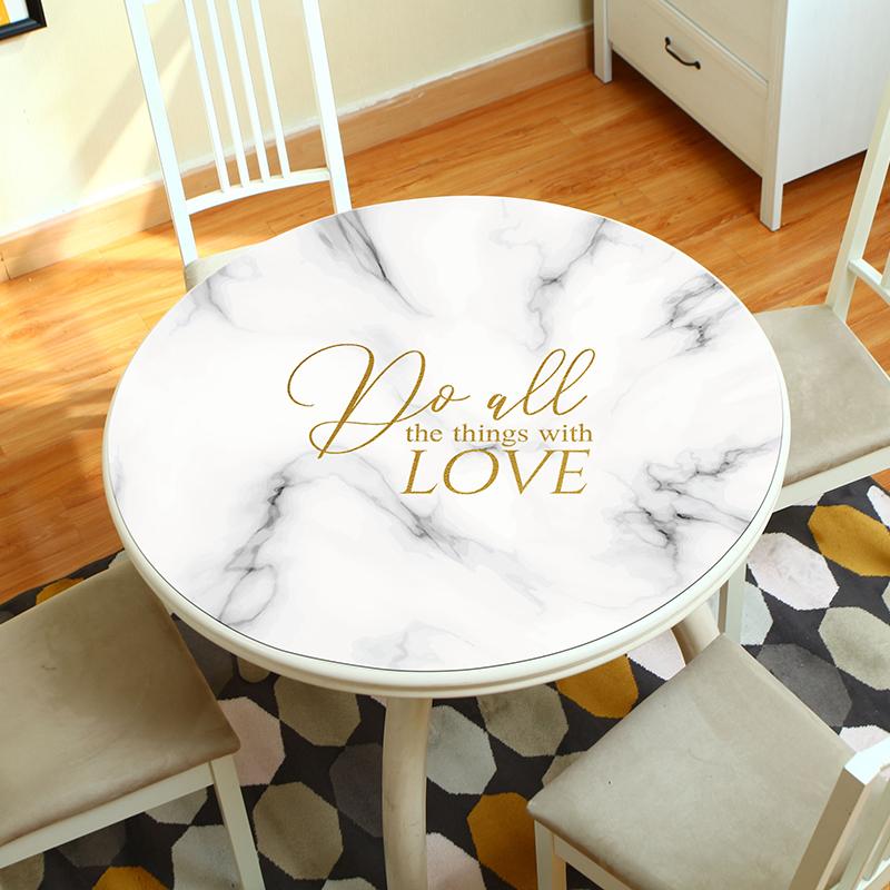 仿大理石纹圆桌北欧风格防水桌布