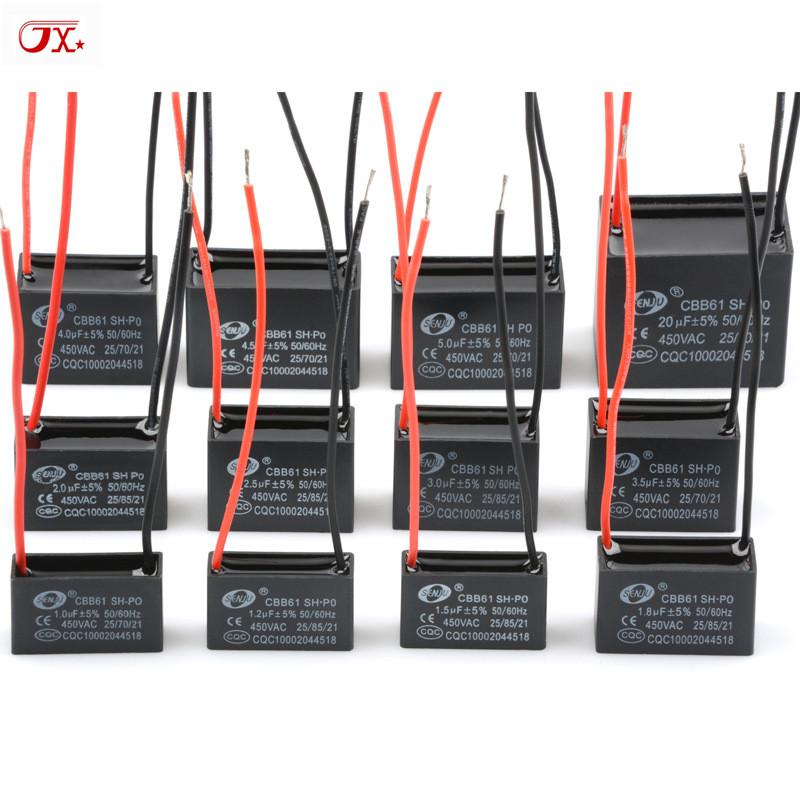 CBB 61始動コンデンサ1/1.2/1.5/2/2.5/3/4/4.5/5 UF 450 Vモータファンエアコン