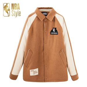 NBA Style潮流服饰 森林狼队男女款毛呢外套夹克运动休闲字母棉服