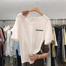 2021夏装新款字母印花V领短袖T恤女韩版宽松百搭竹节棉打底上衣潮