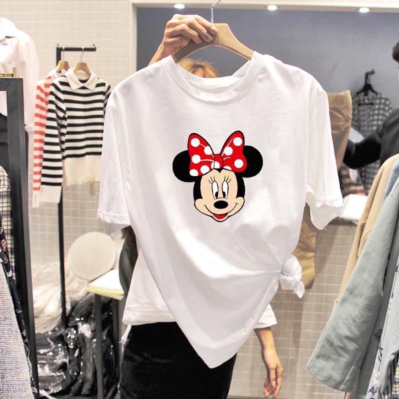 2020夏季女装卡通米妮韩版印花宽松白色纯棉短袖女ins潮t恤女上衣