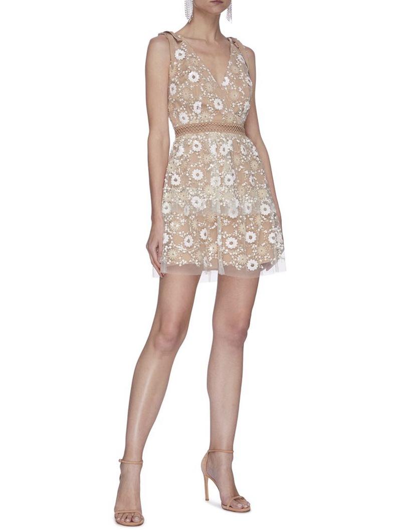 Self season 26 portrait original 20 early autumn new floral Sequin mesh Mini Dress