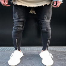 new Men Biker jeans knee ripped zipper skinny male pants