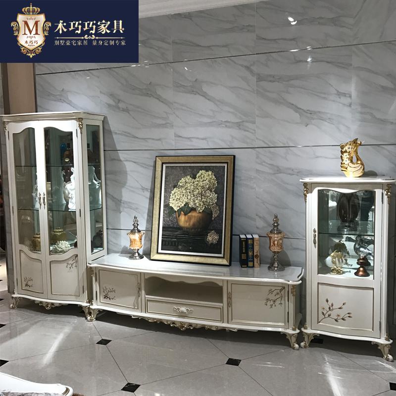 Континентальный вино телевизионный шкаф сочетание гостиная все деревянные резьба современный простой короткая вино / роскошный краски мебель