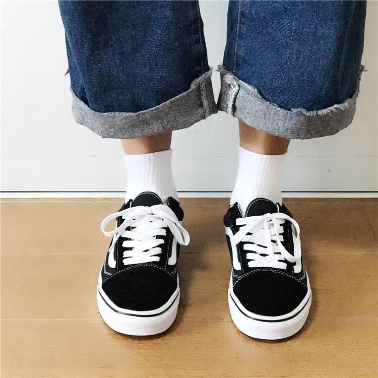 (用1元券)韩版袜子ulzzang街头风原宿黑白男女中筒袜子 日系纯棉时尚情侣袜