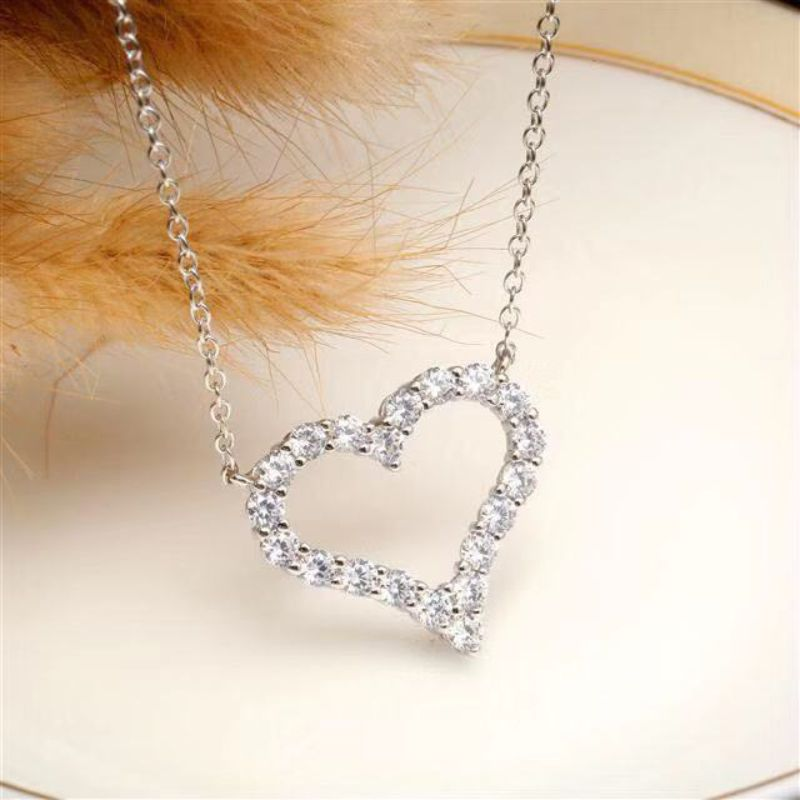 S925 pure silver heart-shaped Necklace net red love diamond clavicle chain fashion simple full diamond peach heart pendant for girlfriend