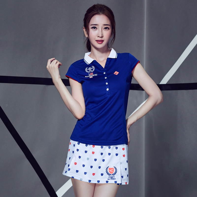 Authentic Lingsheng badminton suit womens sportswear quick drying and breathable slim Lapel short sleeve tennis suit