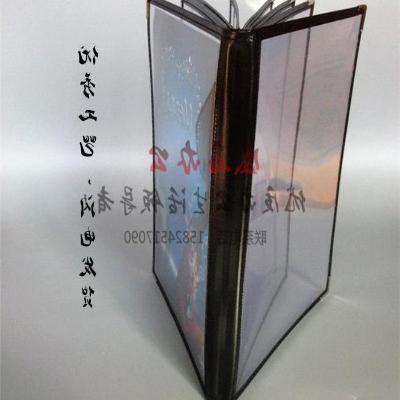 High grade PVC western style 8-page 16 side transparent menu book u customized A4 loose leaf menu order book