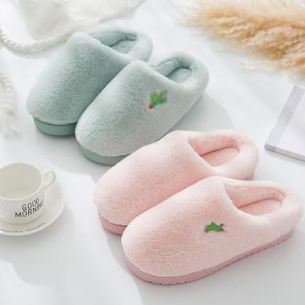 冬季保暖情侣男女居家卡通毛毛室内可爱防滑包跟加厚底月子棉拖鞋