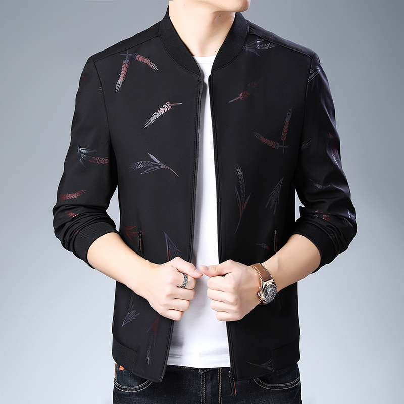 Woodpecker young and middle-aged mens spring and autumn stand collar jacket fashion printed casual coat upper clothes Baseball Shirt