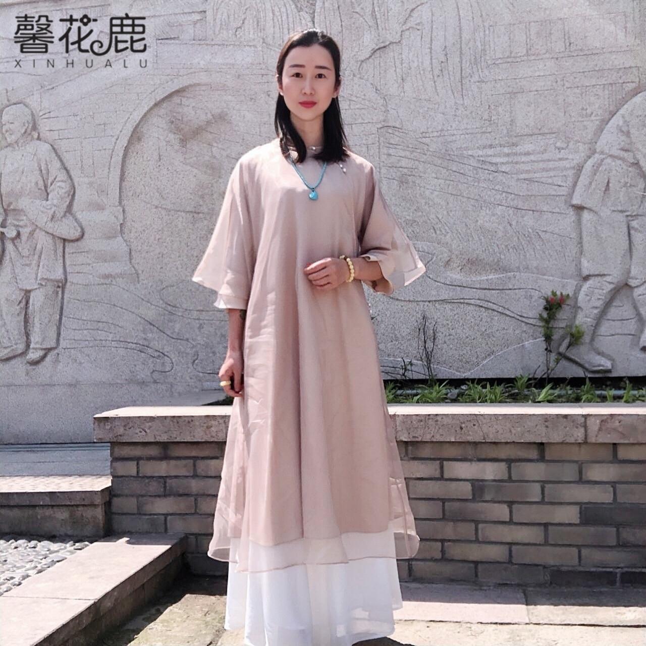 馨花鹿中国风春夏季茶艺服女禅意飘逸长裙仙气圆领中式复古连衣裙