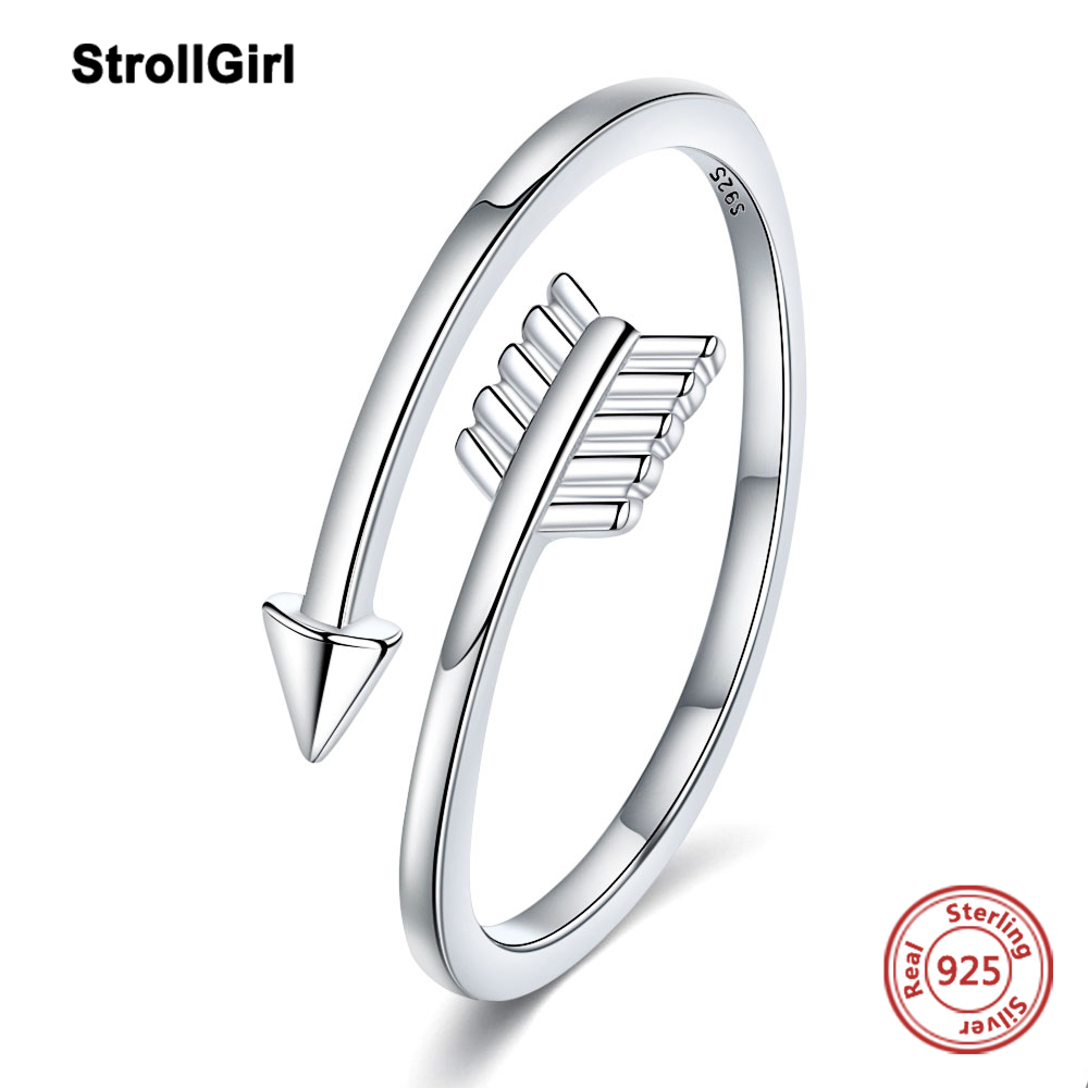 Strollgirl simple Cupid arrow ring S925 pure silver eternal daughter simple ring exquisite gift