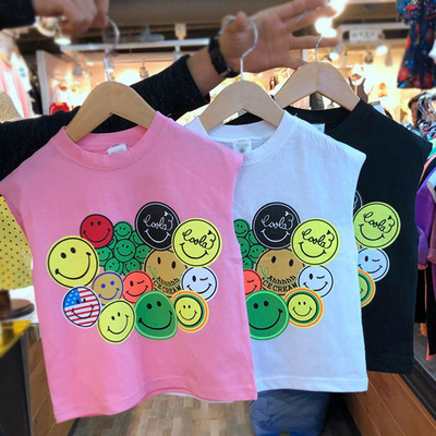 Korean children boys and girls summer new cartoon smiley face vest sleeveless thin cotton T-shirt boutique recommended spot