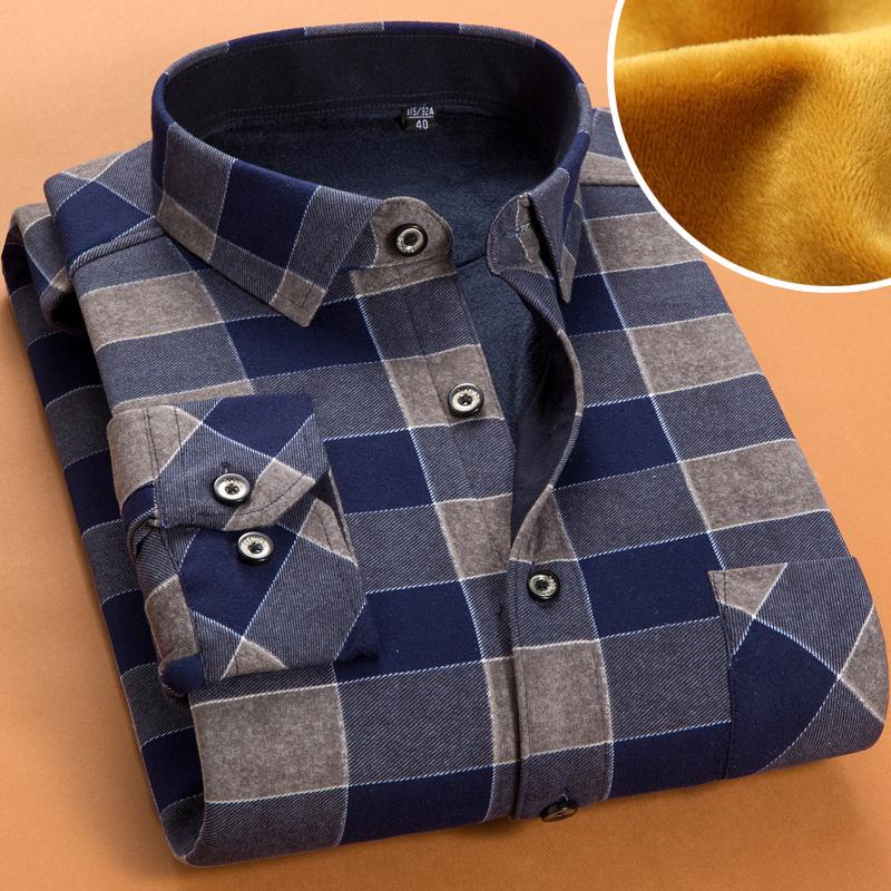 秋冬季加厚加绒保暖衬衫男士格子衬衫男长袖修身韩版衬衣男寸衫潮图片