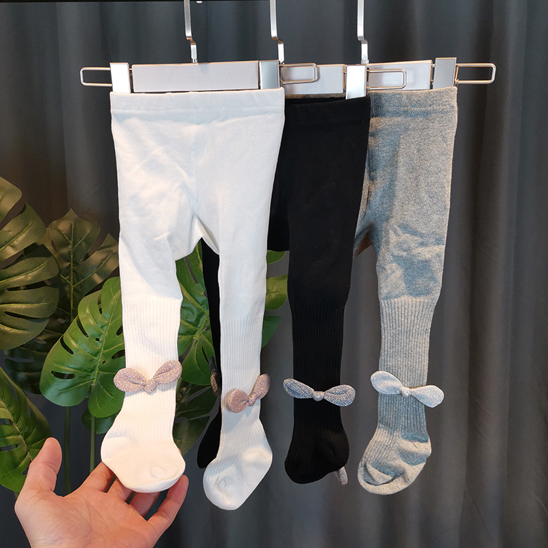 Girls one-piece socks spring and autumn girls bowknot bottom socks thin childrens Leggings baby big PP pantyhose