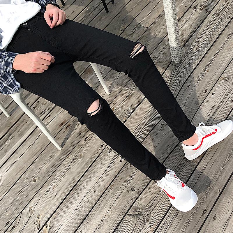 Cropped pants mens Korean fashion slim jeans black loophole beggars leg pants autumn stretch