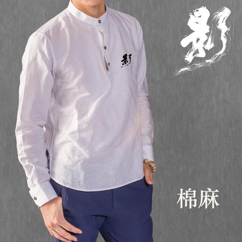 Cotton linen shirt mens linen cotton Chinese style long sleeve autumn hemp shirt mens Cotton hemp thickened white inch shirt casual mens wear