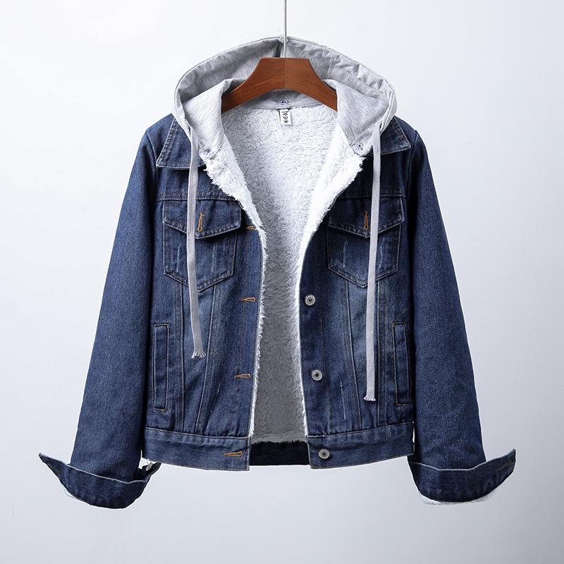 Denim Jacket Women autumn winter Korean version 2021 new slim add velvet detachable Hooded Jacket versatile student girl