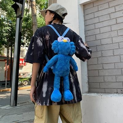 林俊杰同款芝麻街玩偶網紅毛絨公仔雙背包布娃娃超萌單肩小挎包潮
