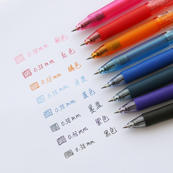 日本UNI三菱彩色水笔UMN-138中性笔签字笔简约学生用uniball按动式子弹头彩色可爱波点蓝红黑色笔0.38mm