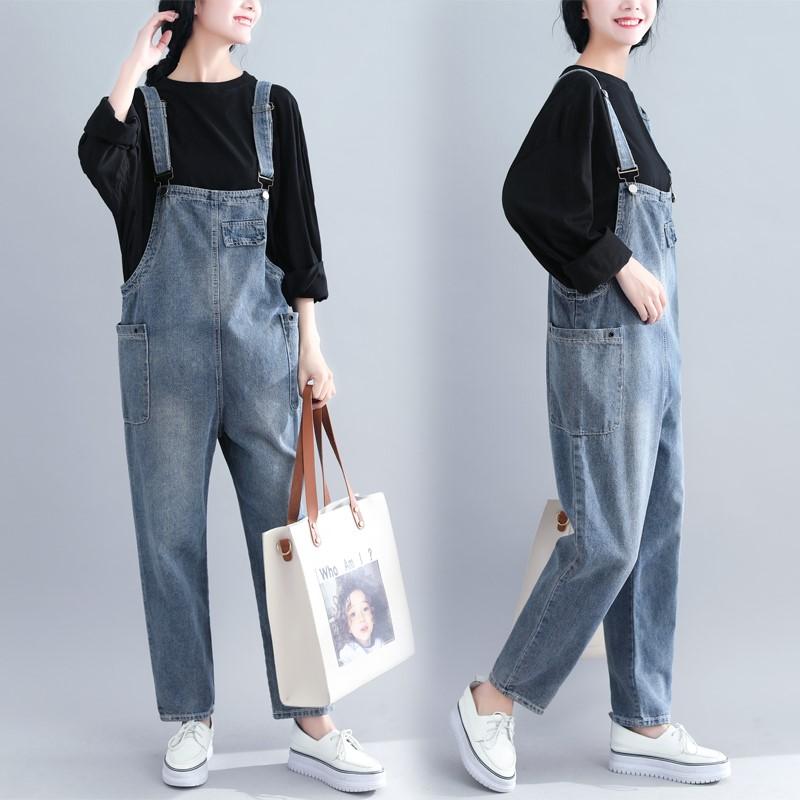牛仔吊带连体裤学生韩版2020春季新款宽松大码显瘦背带裤休闲长裤