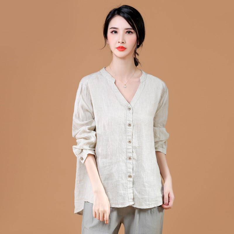 Spring and summer new style art RETRO cotton and hemp top womens long sleeve V-neck front short back long loose Linen Shirt