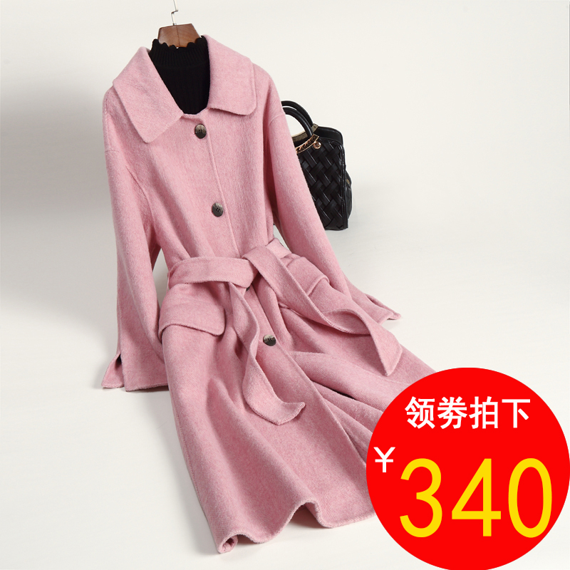 Guyin double faced cashmere wool overcoat long fashion new versatile 2019 off season clearance double faced tweed overcoat women