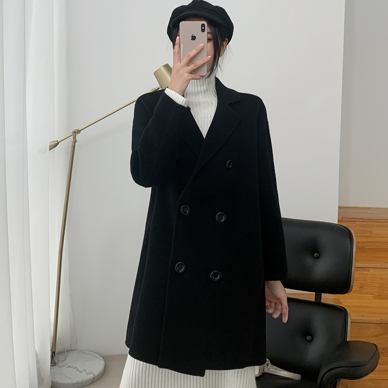 Off season double-sided cashmere wool coat womens 2019 popular black high-end medium long cashmere double-sided coat womens