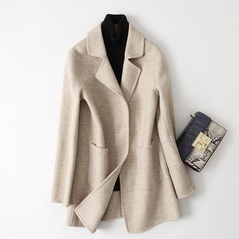 Antique herringbone double faced tweed coat womens coat mid length autumn 2018 thin cashmere coat off season special price