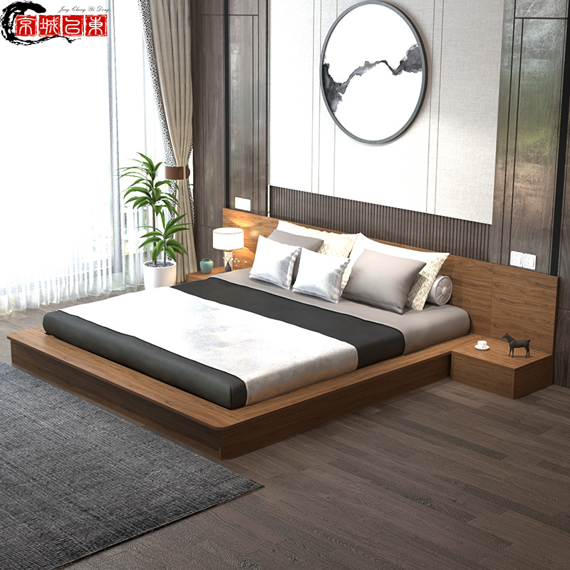 Simple, light and luxurious, small family, Japanese low bed, shelf bed, tatami, 1.8m, 1.5m platform bed, customized