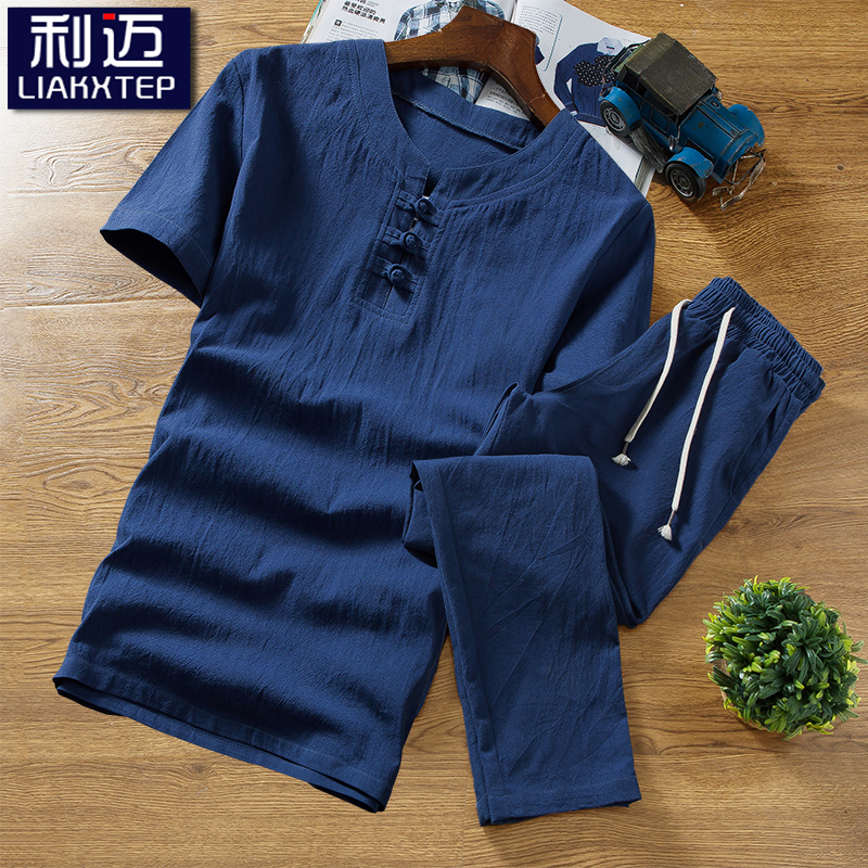 Short sleeve t-shirt mens Chinese style summer casual cotton linen suit embroidery trend handsome summer mens large linen