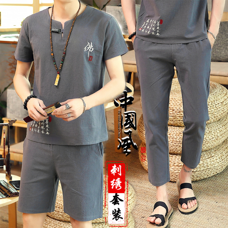 Linen suit mens Chinese style cotton hemp two piece summer short sleeve t-shirt mens trend half sleeve retro casual summer T-shirt