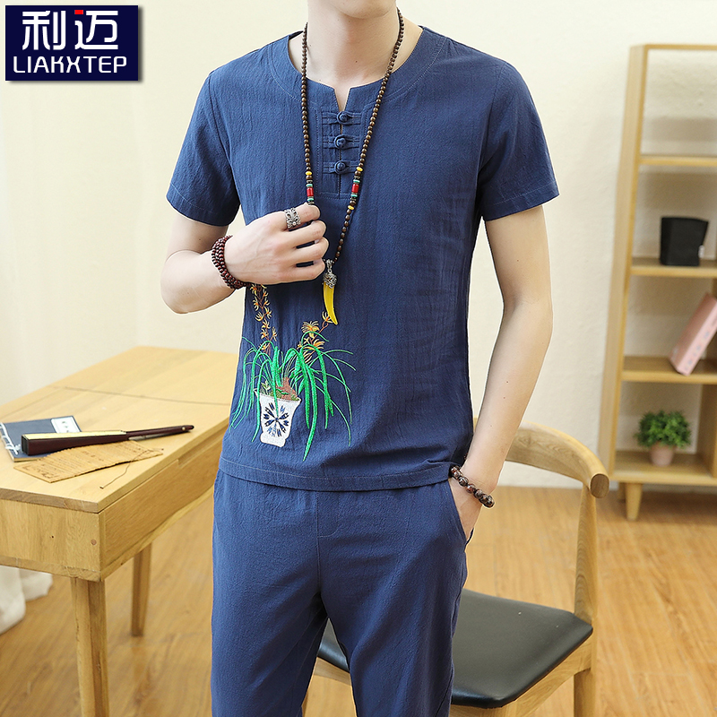 Chinese style linen suit summer T-shirt half sleeve upper garment Korean fashion cotton hemp mens short sleeve T-shirt youth