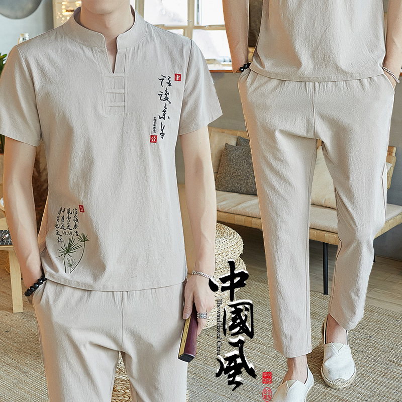 Summer linen suit mens casual short sleeve t-shirt mens summer cotton linen Chinese Style Mens wear 2019 new trend t