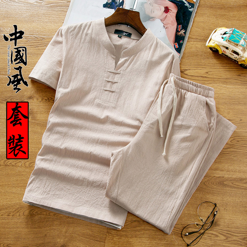 Linen suit mens summer two piece suit Chinese mens clothes mens short sleeve t-shirt mens summer cotton linen loose T-shirt