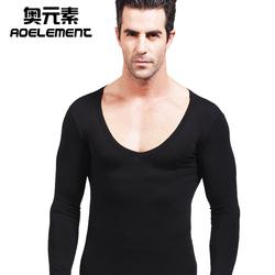 男士低领大领V领莫代尔保暖秋衣单件打底衫棉质毛衫薄款上衣内衣