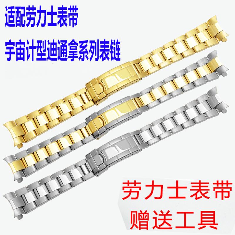 不锈钢手表带代用劳力士宇宙计型迪通拿系列男表20mm金属精钢表链,可领取20元天猫优惠券