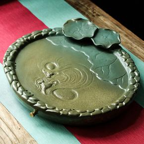 旭顺 创意流水游龙陶瓷茶盘 排水蓄水两用托盘家用简约茶台包邮