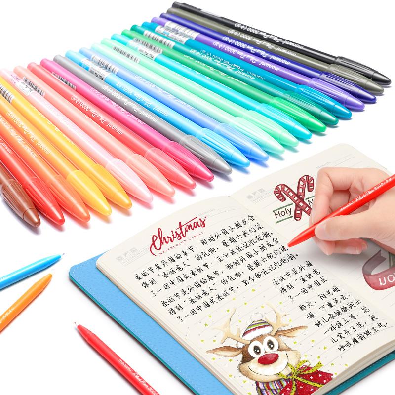 慕娜美monami3000纤维水性笔彩色中性笔韩国文具水彩笔手账勾线笔