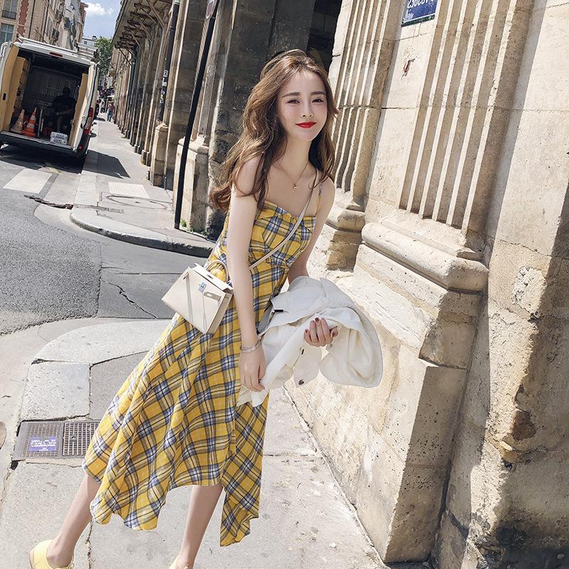 Mini sister Plaid suspender dress 2021 new chic dress womens summer off shoulder waist slim skirt