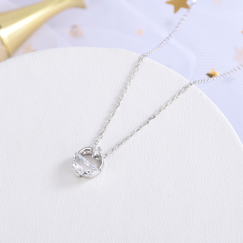 2020 design geometric semicircle S925 pure silver wangqingquan Necklace clavicle chain simple forest circle