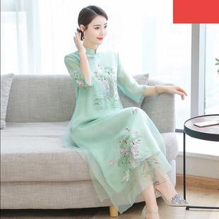 中国民族风女装 连衣裙改良旗袍2020夏季 大码 胖妹妹刺绣长裙 新款