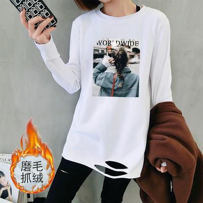 加绒保暖打底衫女t恤长袖大码女装2019新款秋冬装中长款破洞上衣