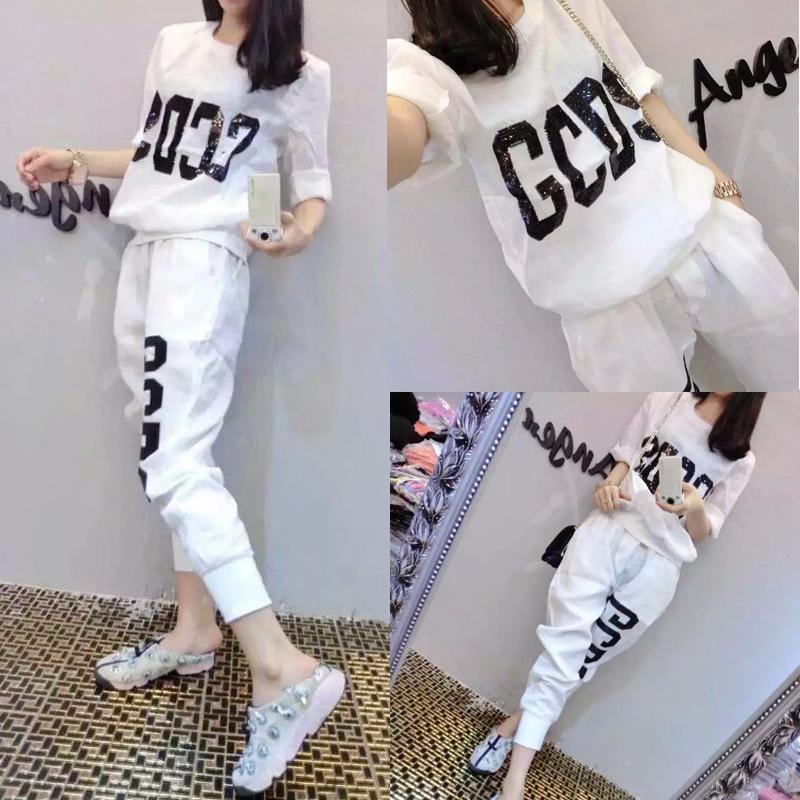欧洲站2020夏季新款休闲运动套装女韩版宽松显瘦洋气时尚两件套潮