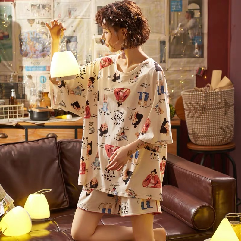 Pure cotton pajamas womens summer thin short sleeve shorts two piece suit 200 Jin fat mm extra large size home clothes