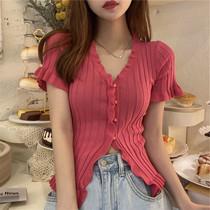 大码女装夏季新款韩版木耳边短袖针织上衣胖MM设计感显瘦纽扣衬衫