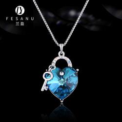 兰盈Crystals from Swarovski项链 choker颈链项圈海洋之心锁骨链