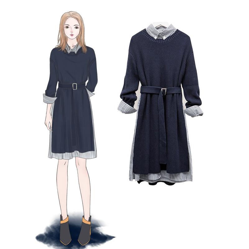 2018秋季新款遮肚子大码女装200斤微胖洋气针织两件套藏肉连衣裙