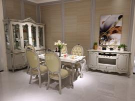欧式美式古典全实木家具蒂芙尼蓝FB 5四门酒柜长餐桌扶手椅餐边柜图片